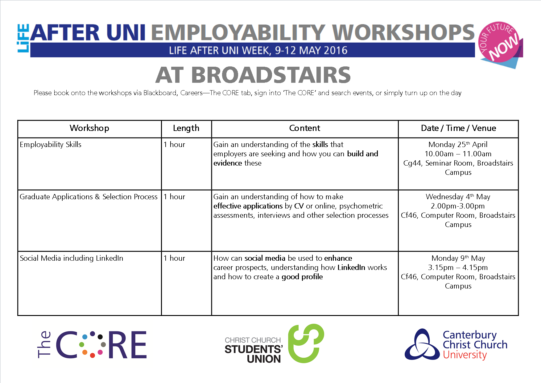 life after uni week 9th 12th broadstairs events